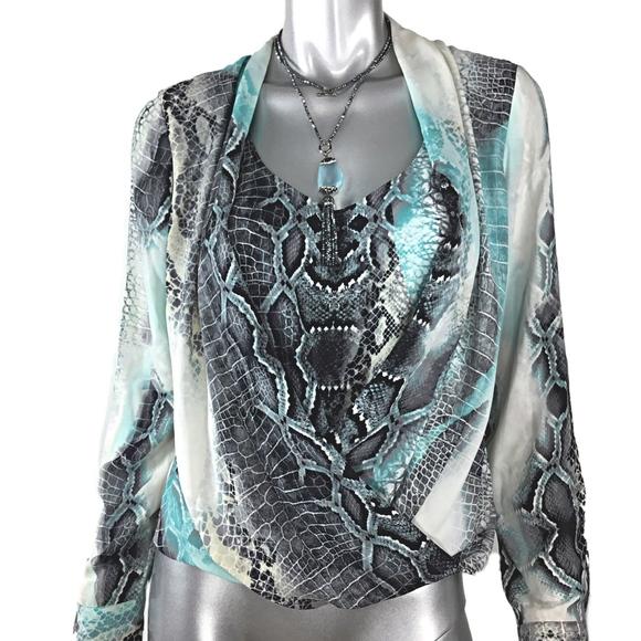 3470669713fdd Alfani Tops - Alfani Blouse Size 6 Gray Animal Print Long Sleeve